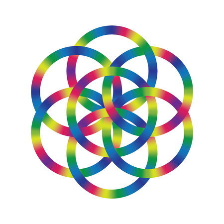 Flower of life with heavy stroke in rainbow gradient