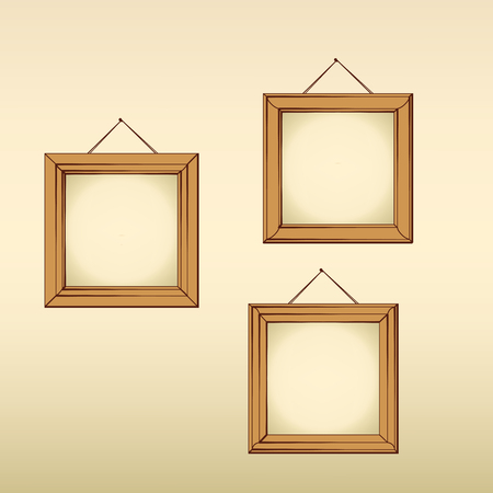 Three wooden empty frames hanged on a wall  イラスト・ベクター素材