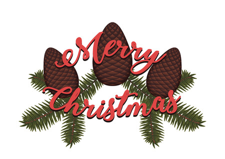 Merry Christmas written over pine cones and pine branches
