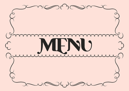 Menu cover template with flourished border