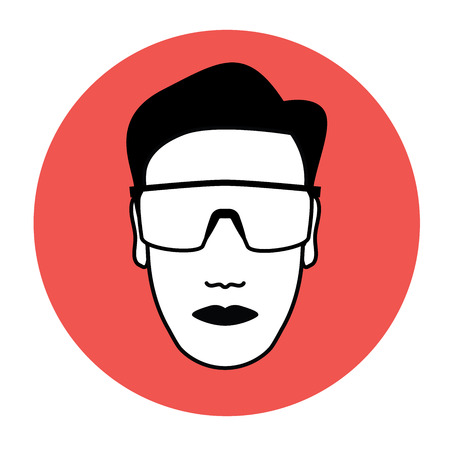 Man with protective goggles icon