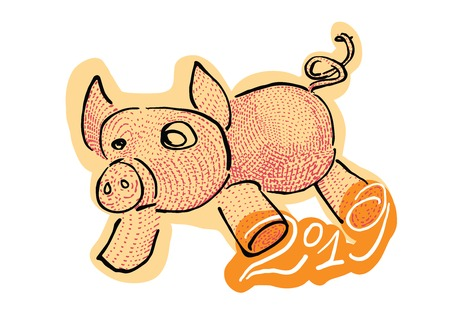 Year of the pig cute vector cartoon for 2019