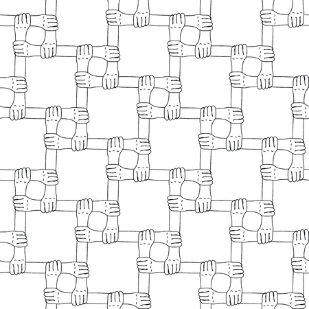 Hands holding each others wrists in a seamless pattern