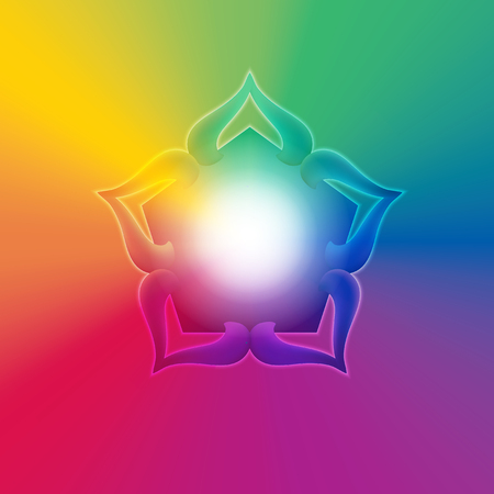 Flower like shaped ornament in a rainbow gradient with bright light coming form within