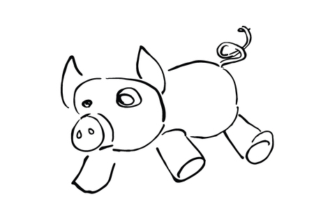 Cute piggy cartoon hand drawn line art