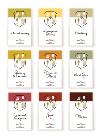 Set of nine Wine label templates for white and red wine varieties Çizim