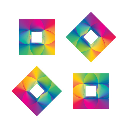 Superimposed rainbow gradients in square pattern vector illustration Çizim