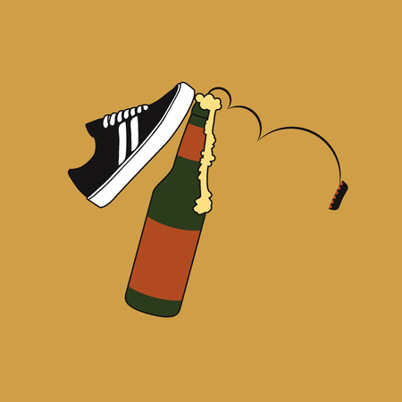Beer being kicked by a skate shoe, the lid is tumbling down, the foam is flowing out