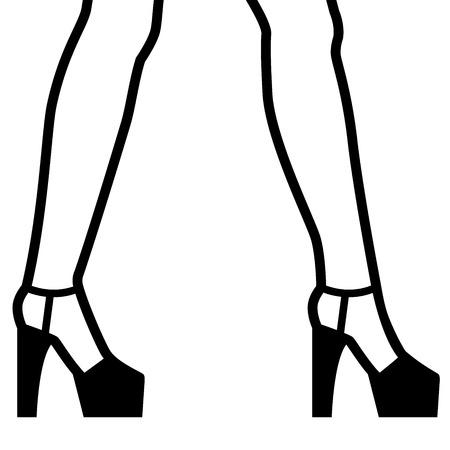 Legs on high heels, simple black stroke illustration