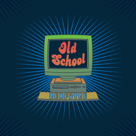 Vintage computer illustration with vibrant colors and neat typography