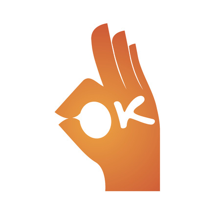 Orange color hand gesture spelling O and letter K is added to form the word OK  イラスト・ベクター素材