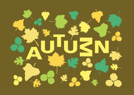 Autumn poster with leaves and text Çizim