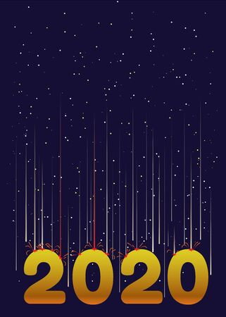 Happy new year 2020 golden style with a meteor shower falling on it