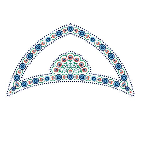 Ethnic arch shaped composition with flower and hearts motifs Çizim