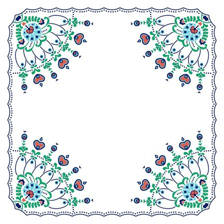 Ethnic square shape with decorated corners and heart and flower symbols