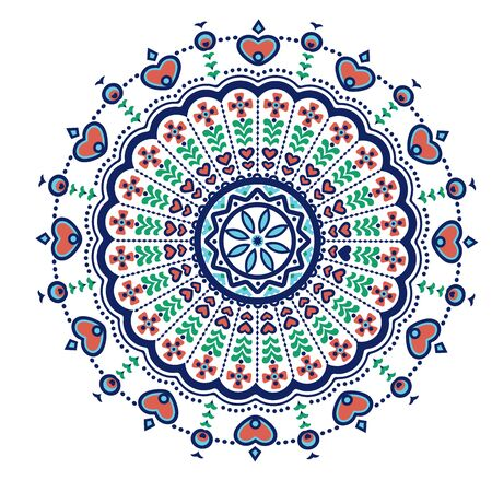 Ethnic mandala-like pattern with flower and heart symbols