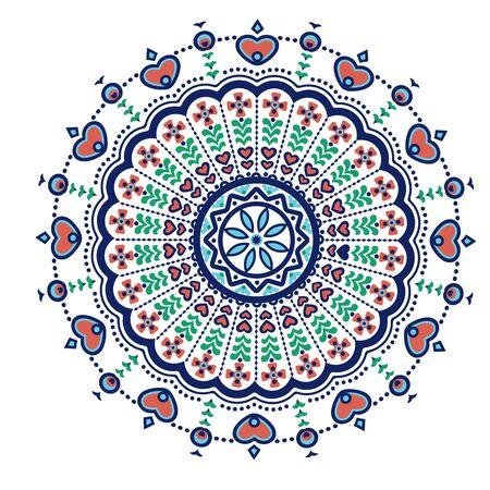 Ethnic mandala-like pattern with flower and heart symbols