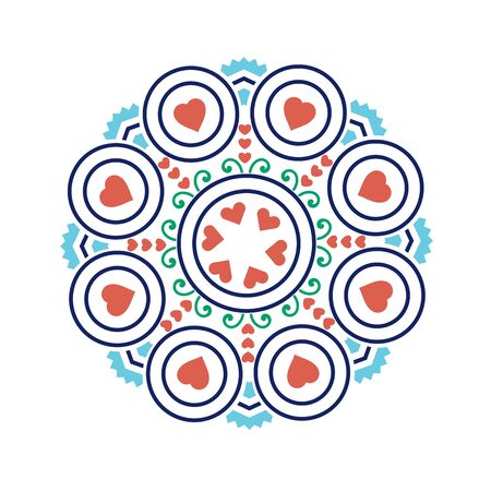 Ethnic mandala-like pattern with flower and heart symbols;