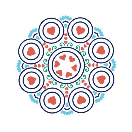 Ethnic mandala-like pattern with flower and heart symbols;