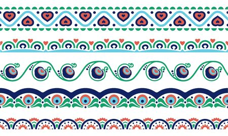 Ethnic borders set with flower, heart, geometric symbols