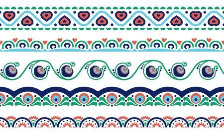 Ethnic borders set with flower, heart, geometric symbols