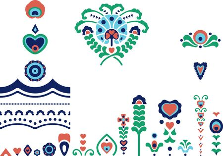 Ethnic symbols and borders collection with flowers and hearts Çizim