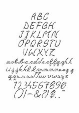 Fluid looking complex font with majuscules, minuscules, numbers and ortographic signs. Çizim