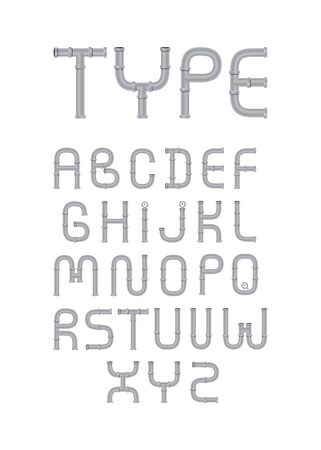 Pipe type illustrated vector set from A to Z