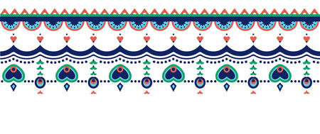 Ethnic seamless border with hanging heart and flower motifs Ilustracja