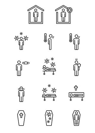 Virus symbols for statistics with regard to people avoiding it, being infected by it, cured or dead.