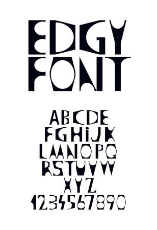 Edgy display font with sharp corners and rounded shapes Ilustracja