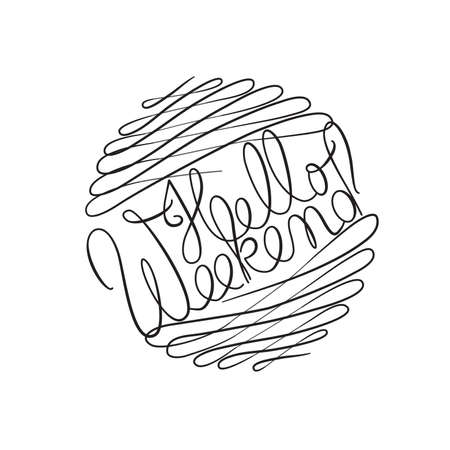 Hello Weekend text surrounded by exaggerated beautiful swash flourishes calligraphy style