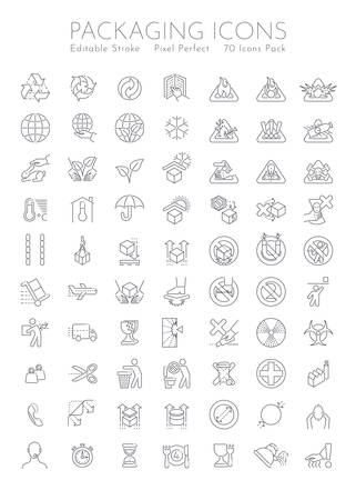 Packaging symbols set. 70 pieces with editable stroke and pixel perfect art.