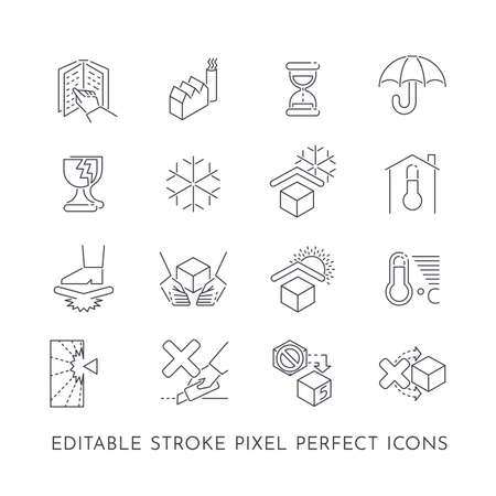 Set of 16 editable stroke pixel perfect icons for product care