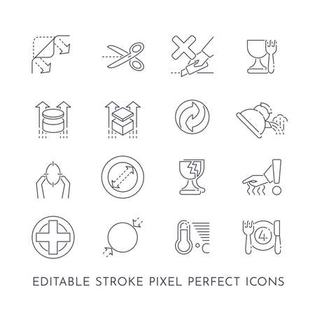 Set of 16 editable stroke pixel perfect icons for packaging and indications of use