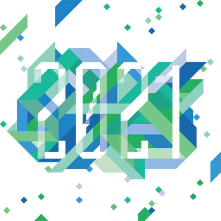2021 geometrical composition for the new year in shades of blue and green