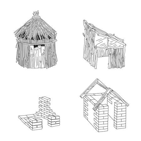 Customizable stroke weight house types. Hut and house of different materials.  イラスト・ベクター素材