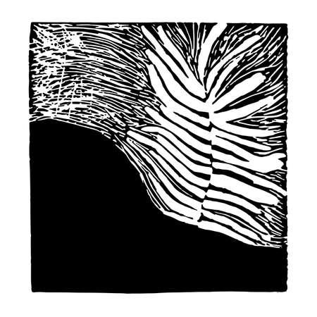 Abstract woodcut plant texture on dark background vector illustration Ilustracja