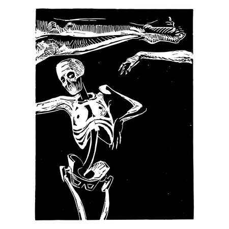 Woodcut dead woman sectioned in three parts on a black background.Hand artwork digitally corrected in detail. Ilustracja