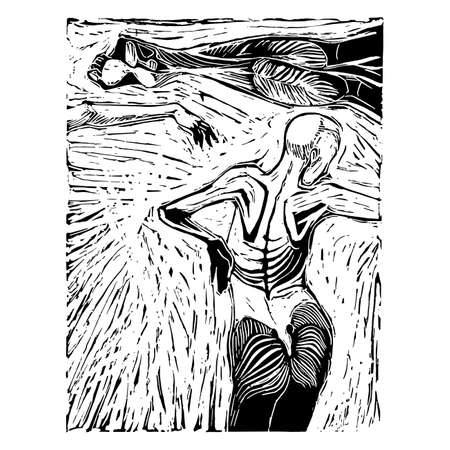 Woodcut dead woman sectioned in three parts on a textured background.Hand artwork digitally corrected in detail.