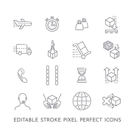 Set of 16 editable stroke pixel perfect icons for package delivery and transport