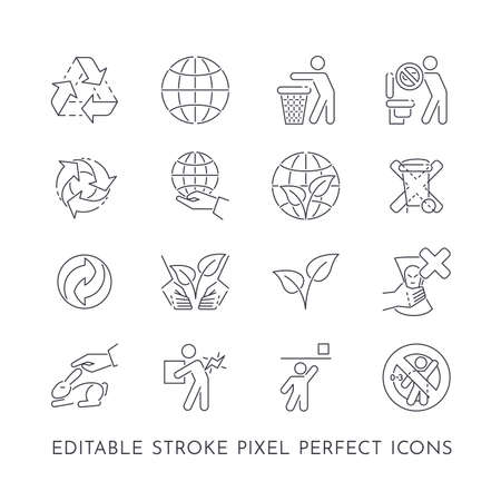 Set of 16 editable stroke pixel perfect icons about recycling and protecting nature