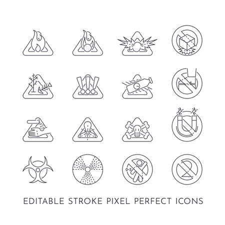 Set of 16 editable stroke pixel perfect icons on the theme of hazards Ilustracja