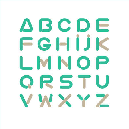 Geometrical editable stroke line font , minimalist contemporary structure and bright colors. Edit the stroke weight or style freely.