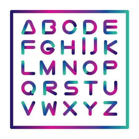Geometrical editable stroke line font , minimalist contemporary structure and bright colors in gradient. Edit the stroke weight or style freely.  イラスト・ベクター素材