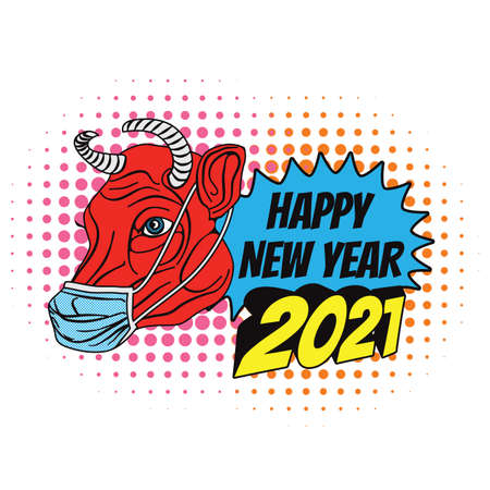 2021 happy new year in Chinese culture. Red bull wearing a surgical mask. Ilustracja