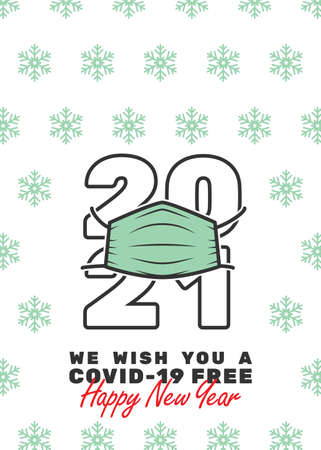 2021 with mask and We wish you a covid-19 free Happy New Year text. Editable strokes.
