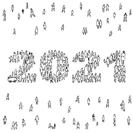 2021 made up of people silhouettes grouped. Community feeling for the new year to come.