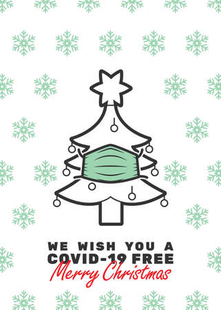 Christmas tree with mask and We wish you a covid-19 free Merry Christmas text. Editable strokes.
