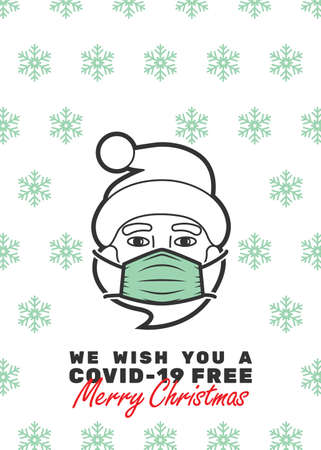 Santa Claus with mask and We wish you a covid-19 free Merry Christmas text. Editable strokes.
